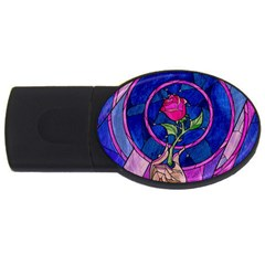 Enchanted Rose Stained Glass Usb Flash Drive Oval (4 Gb) by Onesevenart
