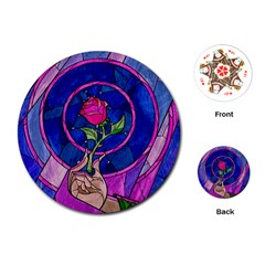 Enchanted Rose Stained Glass Playing Cards (round)  by Onesevenart