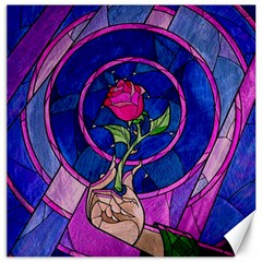 Enchanted Rose Stained Glass Canvas 12  X 12   by Onesevenart