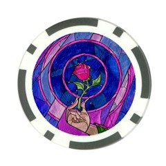 Enchanted Rose Stained Glass Poker Chip Card Guard by Onesevenart