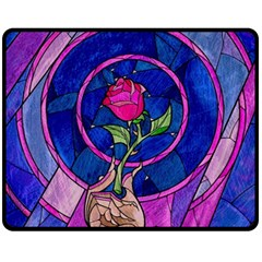 Enchanted Rose Stained Glass Fleece Blanket (medium)  by Onesevenart