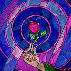 Enchanted Rose Stained Glass Magic Photo Cubes by Onesevenart