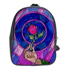 Enchanted Rose Stained Glass School Bag (xl) by Onesevenart
