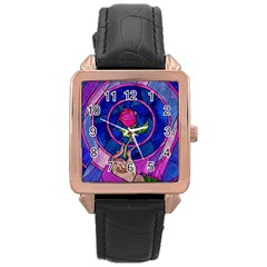 Enchanted Rose Stained Glass Rose Gold Leather Watch  by Onesevenart