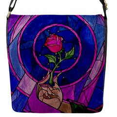 Enchanted Rose Stained Glass Flap Messenger Bag (s) by Onesevenart
