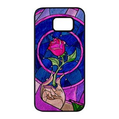 Enchanted Rose Stained Glass Samsung Galaxy S7 Edge Black Seamless Case by Onesevenart