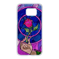 Enchanted Rose Stained Glass Samsung Galaxy S7 Edge White Seamless Case by Onesevenart
