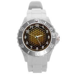 Bring Me The Horizon Cover Album Gold Round Plastic Sport Watch (l) by Onesevenart