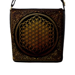 Bring Me The Horizon Cover Album Gold Flap Messenger Bag (l)  by Onesevenart