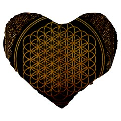 Bring Me The Horizon Cover Album Gold Large 19  Premium Flano Heart Shape Cushions by Onesevenart