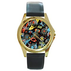Music Pattern Round Gold Metal Watch by Onesevenart