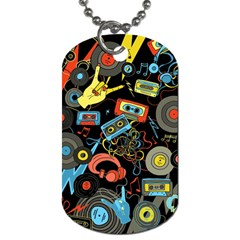 Music Pattern Dog Tag (one Side) by Onesevenart
