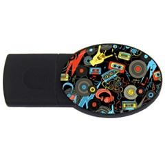 Music Pattern Usb Flash Drive Oval (4 Gb) by Onesevenart