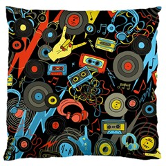 Music Pattern Large Cushion Case (two Sides) by Onesevenart