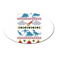 My Grandma Likes Dinosaurs Ugly Holiday Christmas Oval Magnet by Onesevenart