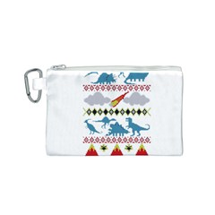 My Grandma Likes Dinosaurs Ugly Holiday Christmas Canvas Cosmetic Bag (s) by Onesevenart