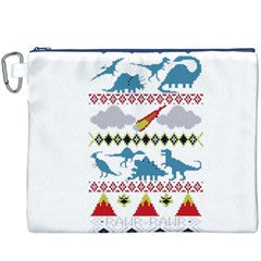 My Grandma Likes Dinosaurs Ugly Holiday Christmas Canvas Cosmetic Bag (xxxl) by Onesevenart