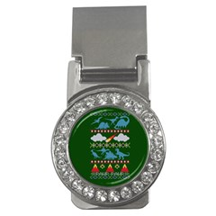 My Grandma Likes Dinosaurs Ugly Holiday Christmas Green Background Money Clips (cz)  by Onesevenart