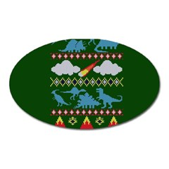 My Grandma Likes Dinosaurs Ugly Holiday Christmas Green Background Oval Magnet by Onesevenart