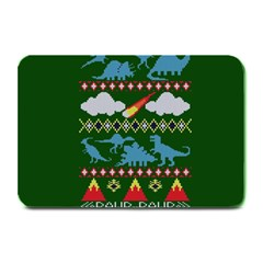 My Grandma Likes Dinosaurs Ugly Holiday Christmas Green Background Plate Mats by Onesevenart