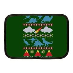 My Grandma Likes Dinosaurs Ugly Holiday Christmas Green Background Netbook Case (medium)  by Onesevenart