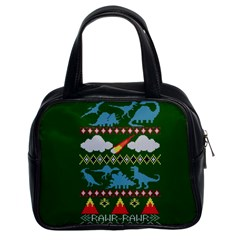My Grandma Likes Dinosaurs Ugly Holiday Christmas Green Background Classic Handbags (2 Sides) by Onesevenart