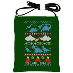 My Grandma Likes Dinosaurs Ugly Holiday Christmas Green Background Shoulder Sling Bags by Onesevenart