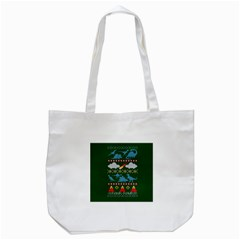 My Grandma Likes Dinosaurs Ugly Holiday Christmas Green Background Tote Bag (white) by Onesevenart