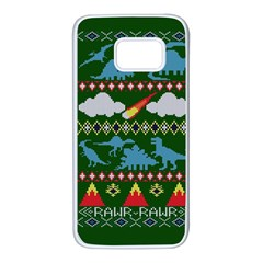 My Grandma Likes Dinosaurs Ugly Holiday Christmas Green Background Samsung Galaxy S7 White Seamless Case