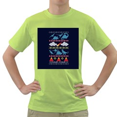 My Grandma Likes Dinosaurs Ugly Holiday Christmas Blue Background Green T Shirt by Onesevenart