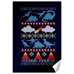 My Grandma Likes Dinosaurs Ugly Holiday Christmas Blue Background Canvas 12  X 18   by Onesevenart