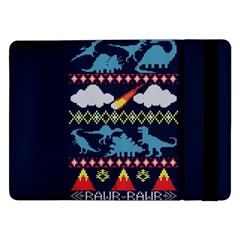 My Grandma Likes Dinosaurs Ugly Holiday Christmas Blue Background Samsung Galaxy Tab Pro 12 2  Flip Case by Onesevenart