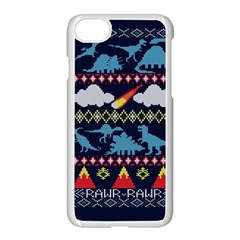 My Grandma Likes Dinosaurs Ugly Holiday Christmas Blue Background Apple Iphone 7 Seamless Case (white) by Onesevenart