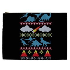My Grandma Likes Dinosaurs Ugly Holiday Christmas Black Background Cosmetic Bag (xxl)  by Onesevenart