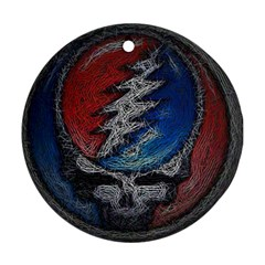 Grateful Dead Logo Round Ornament (two Sides) by Onesevenart