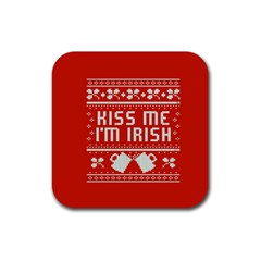 Kiss Me I m Irish Ugly Christmas Red Background Rubber Coaster (square)  by Onesevenart