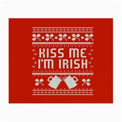 Kiss Me I m Irish Ugly Christmas Red Background Small Glasses Cloth (2 Side) by Onesevenart