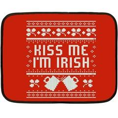 Kiss Me I m Irish Ugly Christmas Red Background Double Sided Fleece Blanket (mini)  by Onesevenart
