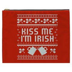 Kiss Me I m Irish Ugly Christmas Red Background Cosmetic Bag (xxxl)  by Onesevenart