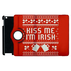 Kiss Me I m Irish Ugly Christmas Red Background Apple Ipad 2 Flip 360 Case by Onesevenart
