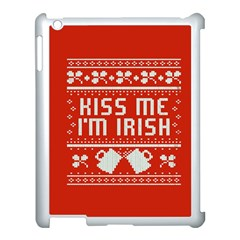 Kiss Me I m Irish Ugly Christmas Red Background Apple Ipad 3/4 Case (white) by Onesevenart