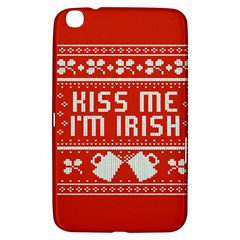 Kiss Me I m Irish Ugly Christmas Red Background Samsung Galaxy Tab 3 (8 ) T3100 Hardshell Case  by Onesevenart