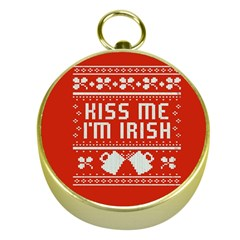 Kiss Me I m Irish Ugly Christmas Red Background Gold Compasses by Onesevenart