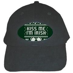 Kiss Me I m Irish Ugly Christmas Green Background Black Cap by Onesevenart