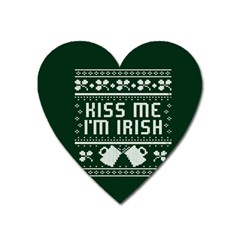 Kiss Me I m Irish Ugly Christmas Green Background Heart Magnet by Onesevenart