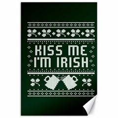 Kiss Me I m Irish Ugly Christmas Green Background Canvas 24  X 36  by Onesevenart