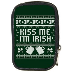 Kiss Me I m Irish Ugly Christmas Green Background Compact Camera Cases by Onesevenart