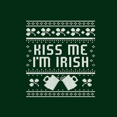Kiss Me I m Irish Ugly Christmas Green Background Magic Photo Cubes by Onesevenart