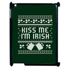 Kiss Me I m Irish Ugly Christmas Green Background Apple Ipad 2 Case (black) by Onesevenart