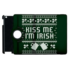 Kiss Me I m Irish Ugly Christmas Green Background Apple Ipad 2 Flip 360 Case by Onesevenart